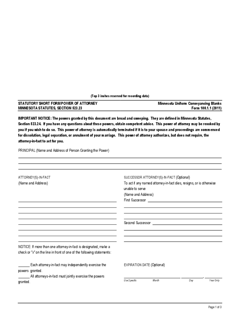 minnesota power of attorney form