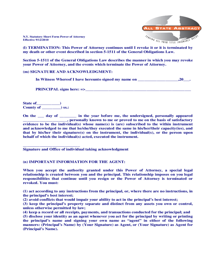 Statutory Short Form Of Durable General Power Of Attorney New York