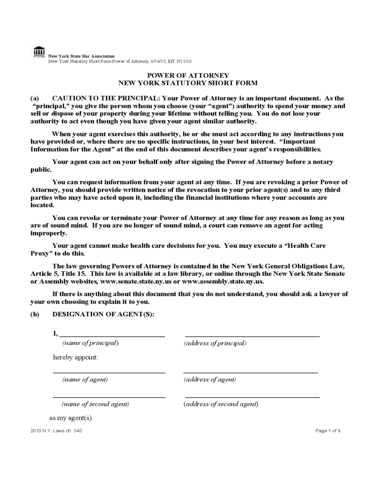Statutory Short Form Power Of Attorney New York Free Download