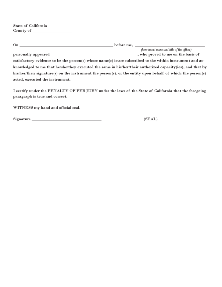 Sample Uniform Statutory Form Power of Attorney - California