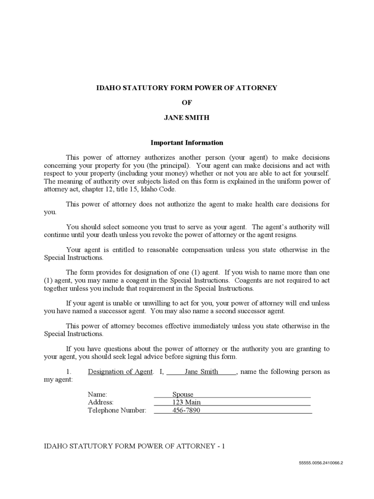 Statutory Form Power of Attorney - Idaho