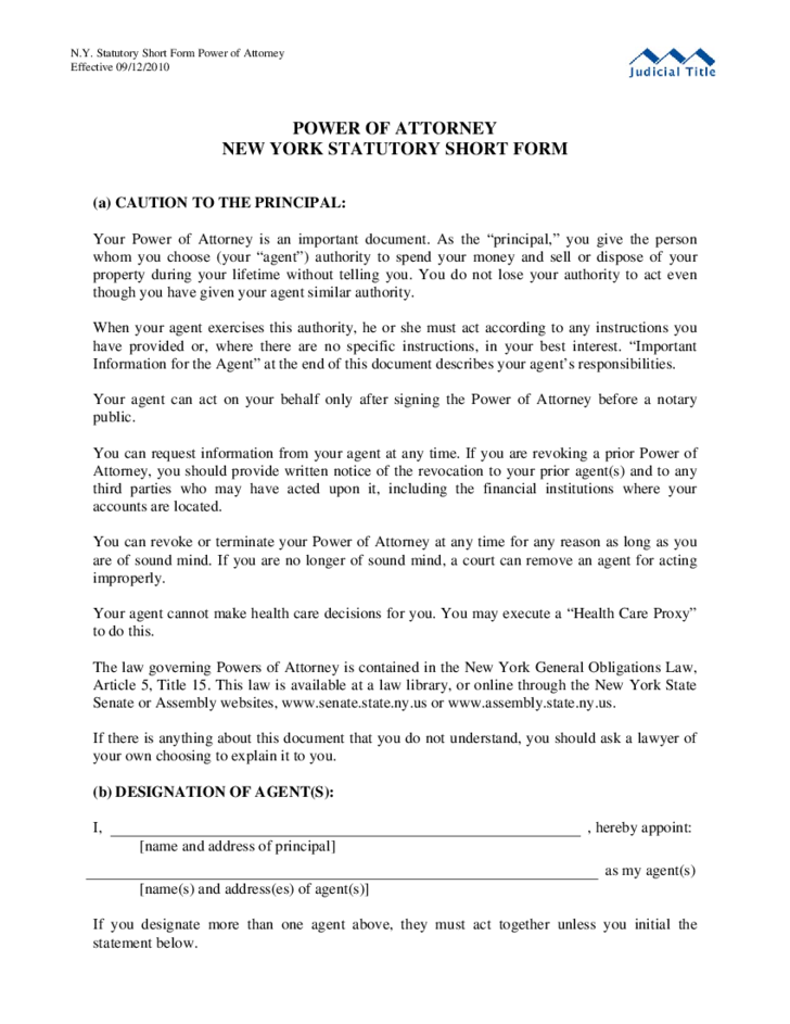 Sample Power Of Attorney Statutory Short Form New York Free Download