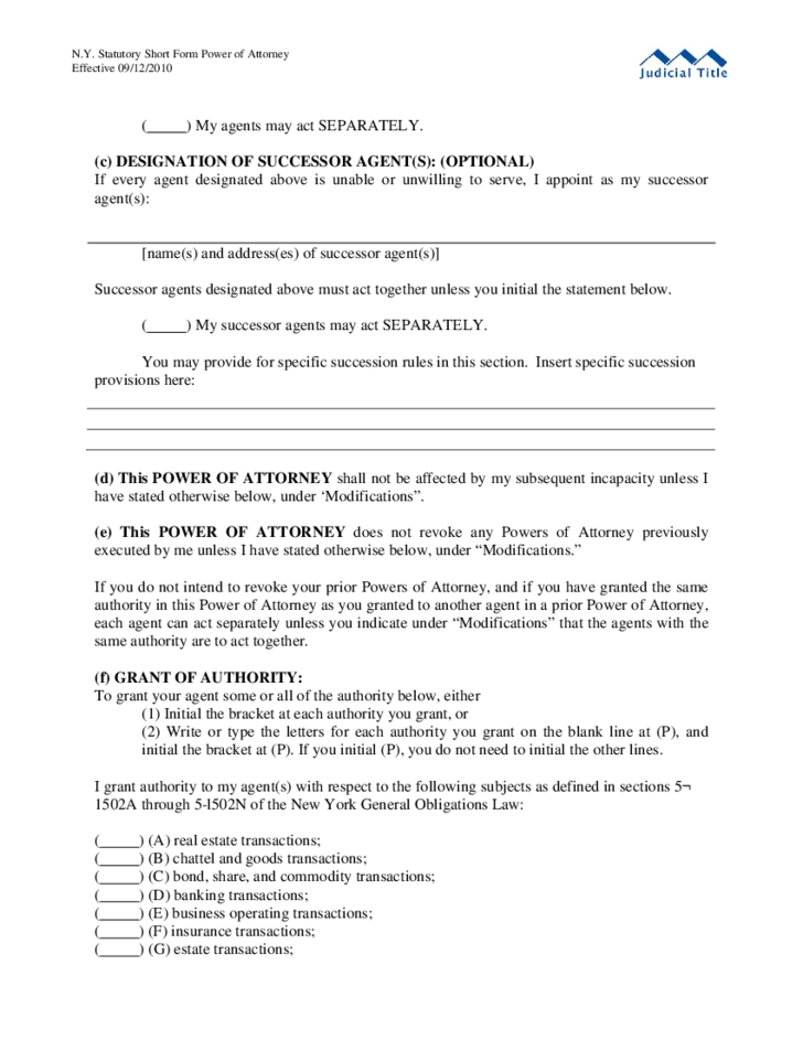 sample power of attorney statutory short form