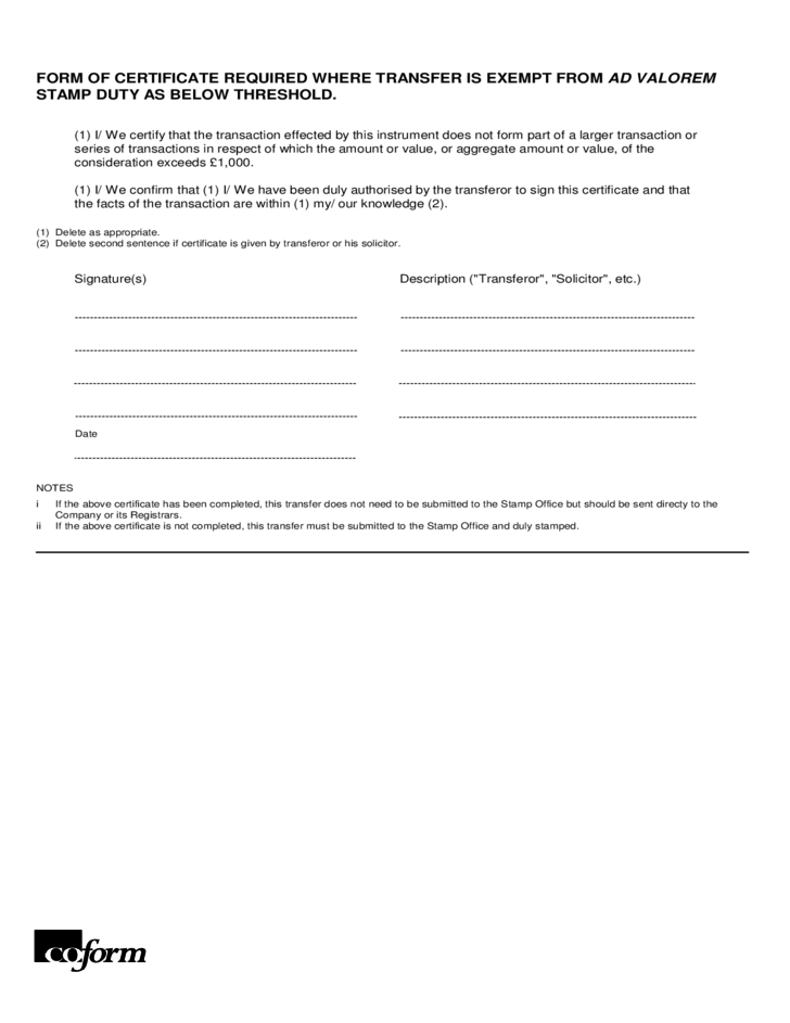 Stock Transfer Form Sample Free Download