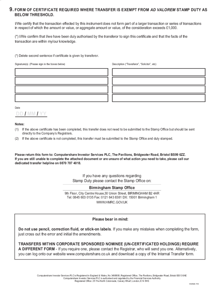 Computershare Standard Transfer Form Choice Image Free Form Design