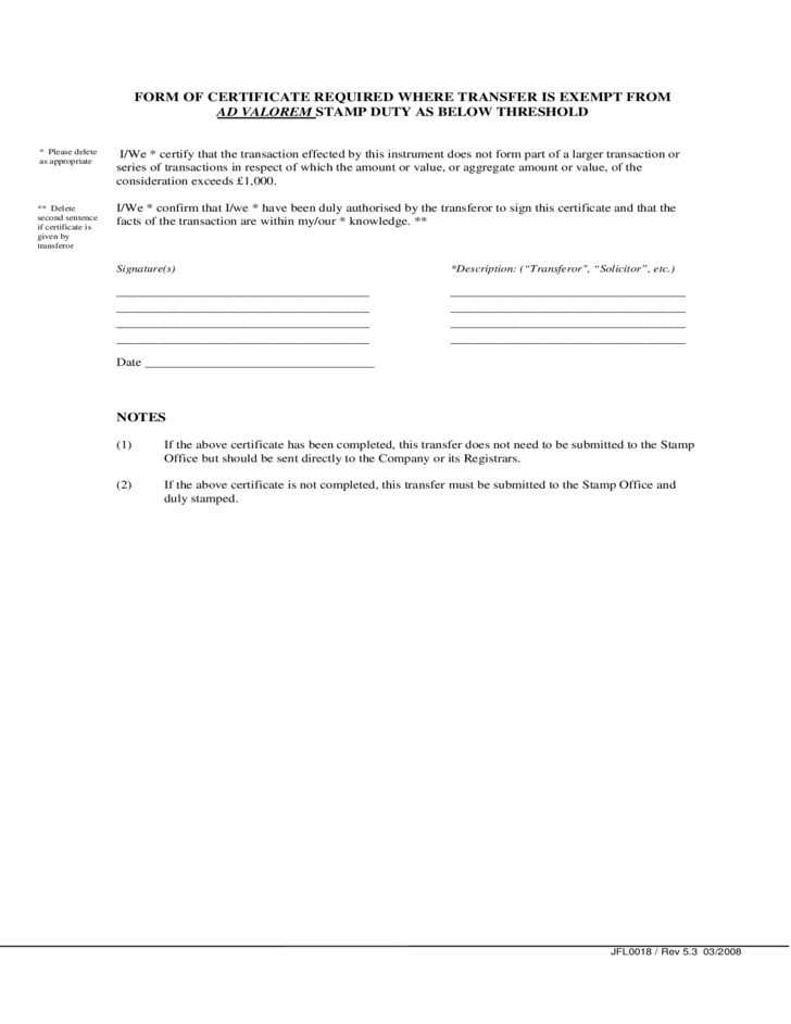 Stock Transfer Form Template Free Download