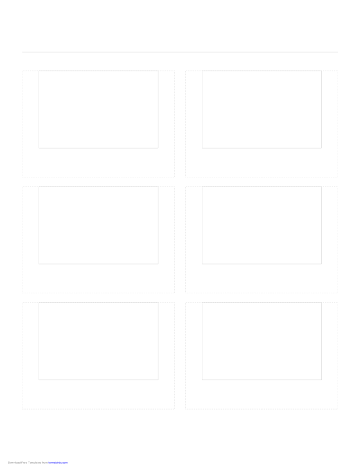 Storyboard with 2x3 Grid of 4:3 (Full Screen) Screens on A4 Paper