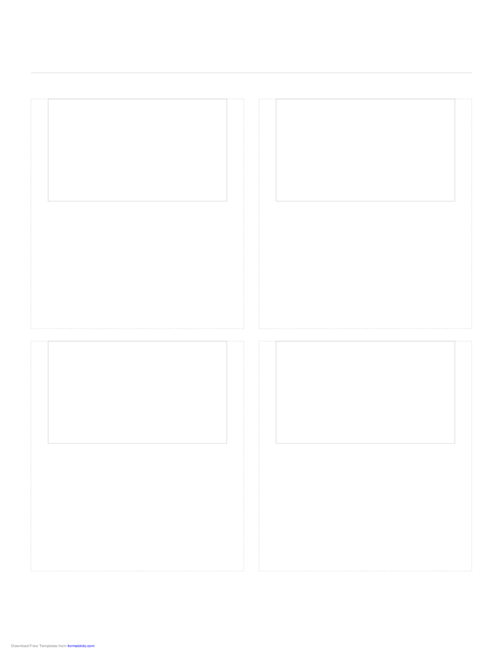 Storyboard with 2x2 Grid of 3:2 (35mm Photo) Screens on A4 Paper