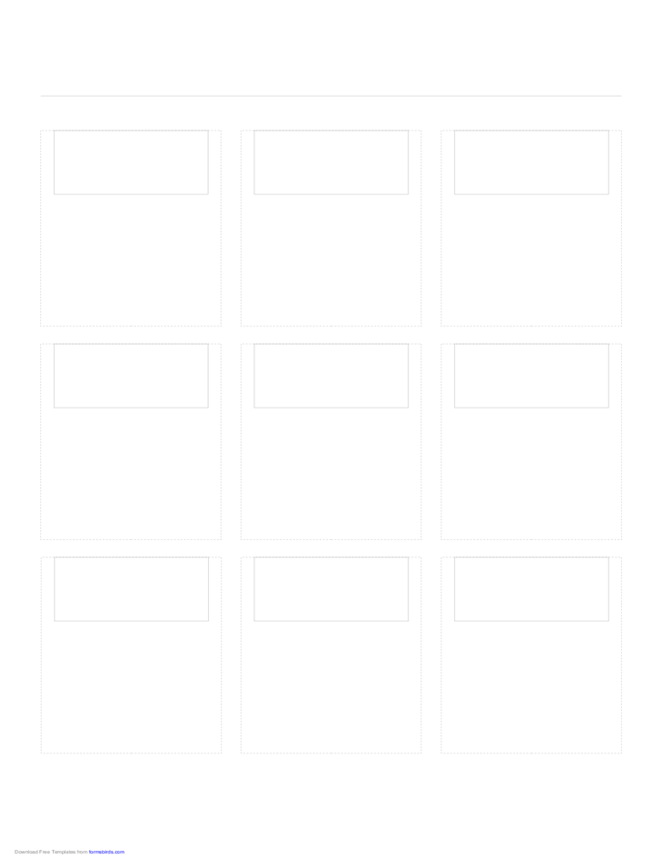 Storyboard with 3x3 Grid of 16:9 (Wide Screen) Screens on A4 Paper