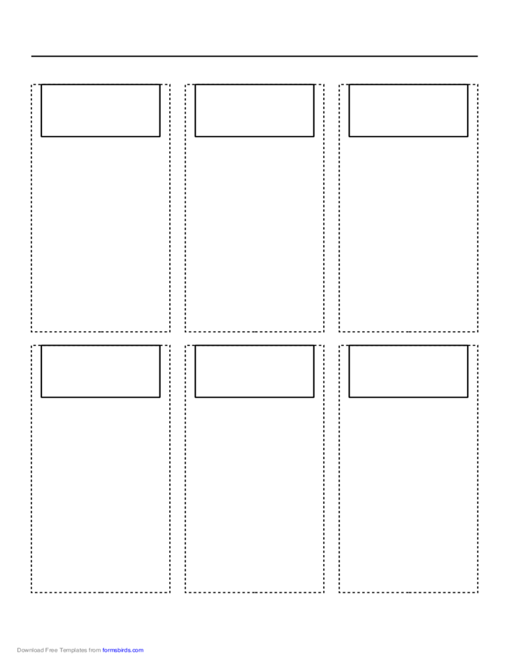 Storyboard with 3x2 Grid of 16:9 (Wide Screen) Screens on A4 Paper