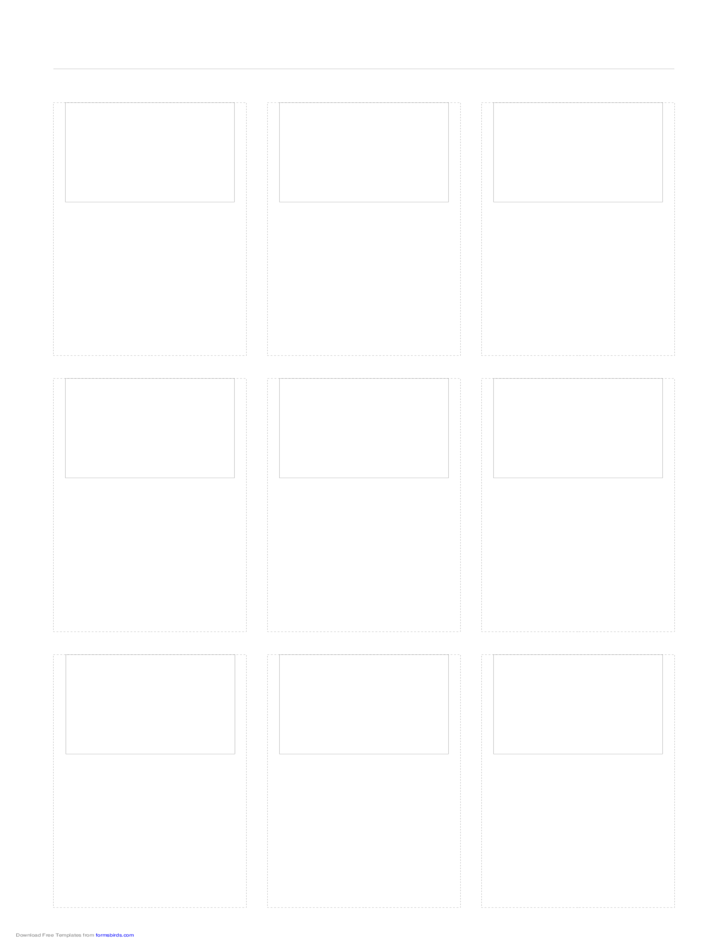 Storyboard with 3x3 Grid of 4:3 (Full Screen) Screens on Legal Paper