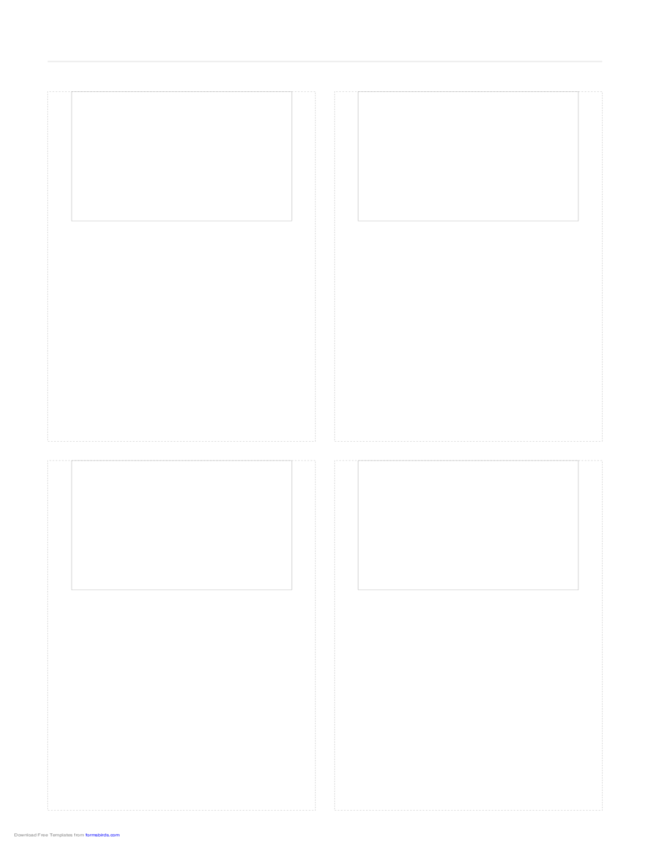 Storyboard with 2x2 Grid of 4:3 (Full Screen) Screens on Legal Paper