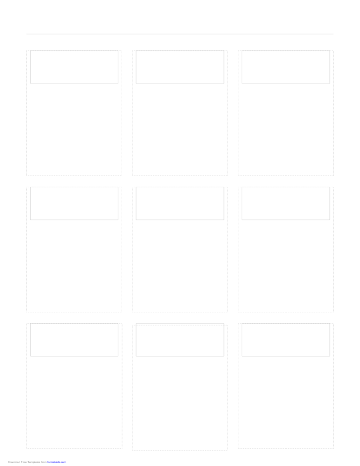 Storyboard with 3x3 Grid of 16:9 (Widescreen) Screens on Legal Paper