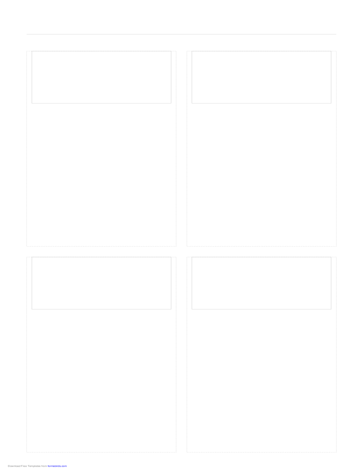 Storyboard with 2x2 Grid of 16:9 (Widescreen) Screens on Legal Paper