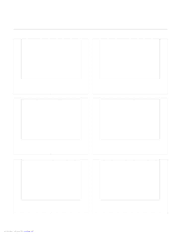 Storyboard with 2x3 Grid of 4:3 (Full Screen) Screens on Letter Paper