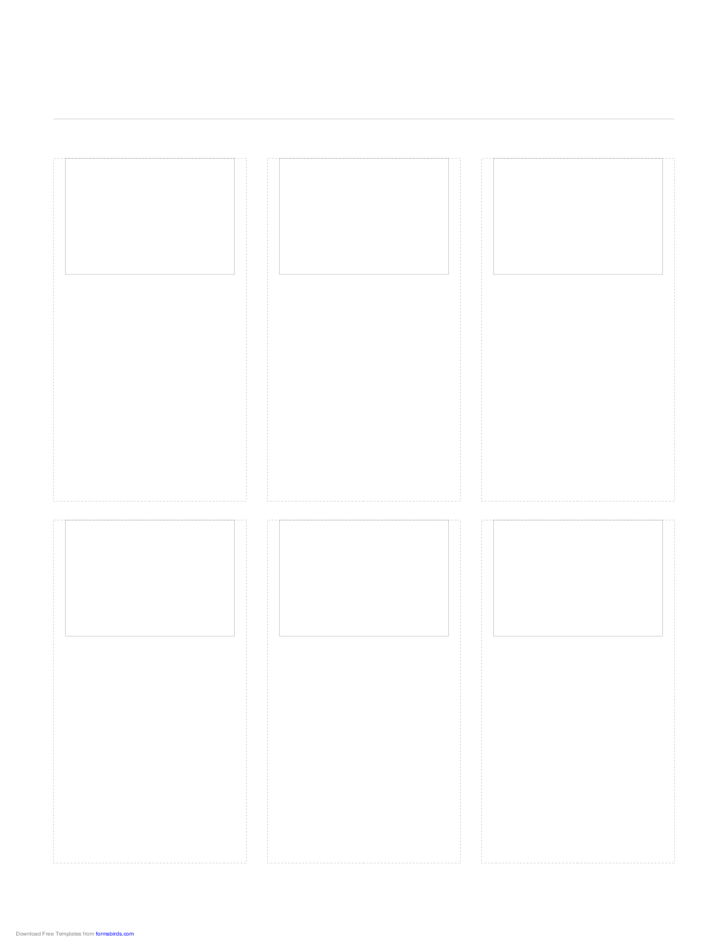 Storyboard with 3x2 Grid of 4:3 (Full Screen) Screens on Letter Paper