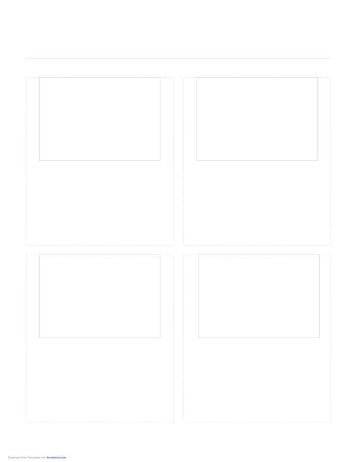Storyboard with 2x2 Grid of 4:3 (Full Screen) Screens on Letter Paper