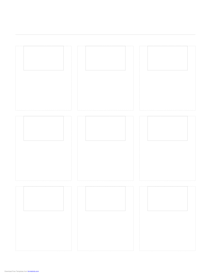 Sample Storyboard with 3x3 Grid of 3:2 (35mm Photo) Screens on Letter Paper