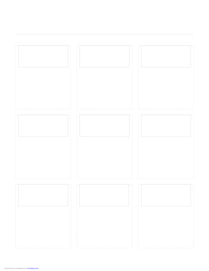 Storyboard with 3x3 Grid of 16:9 (Widescreen) Screens on Letter Paper