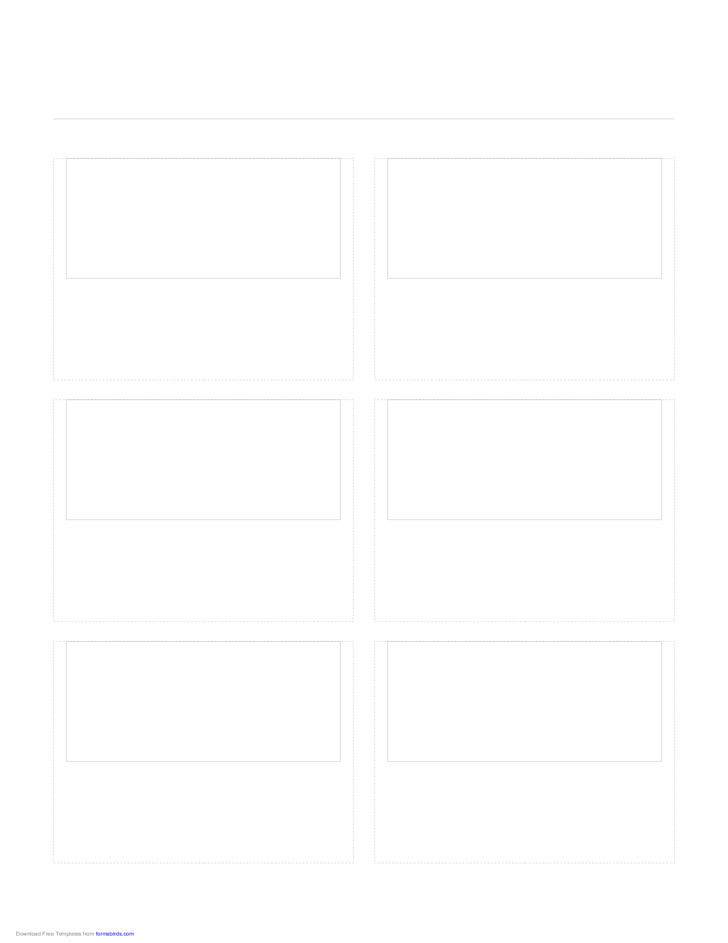 Storyboard with 2x3 Grid of 16:9 (Widescreen) Screens on Letter Paper