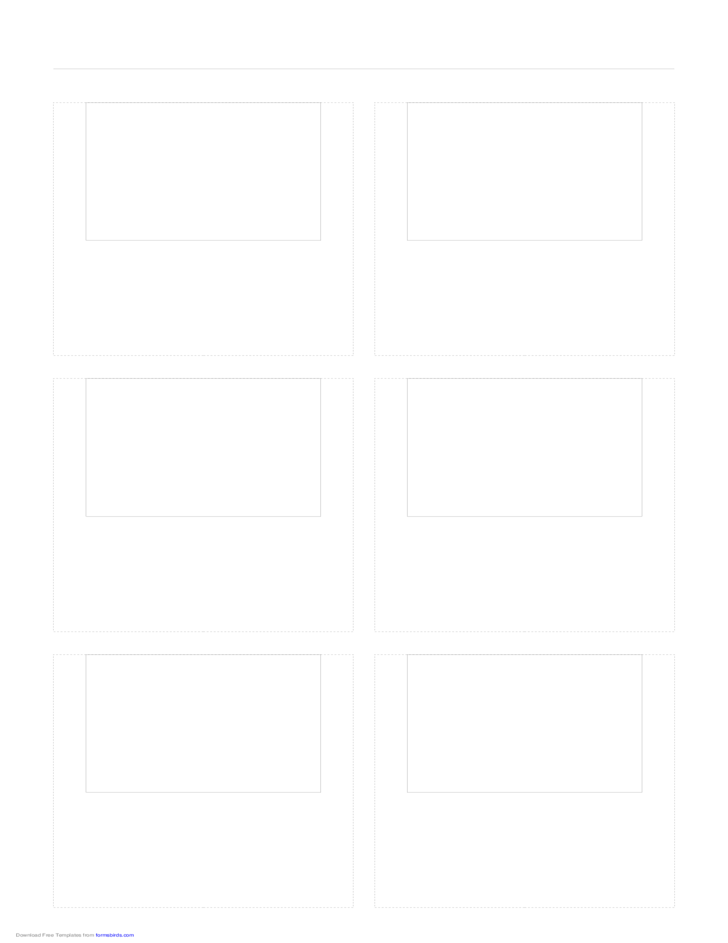 Storyboard with 2x3 Grid of 4:3 (Full Screen) Screens on Legal Paper