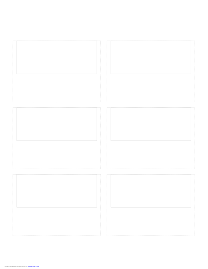 Storyboard with 2x3 Grid of 16:9 (Wide Screen) Screens on A4 Paper