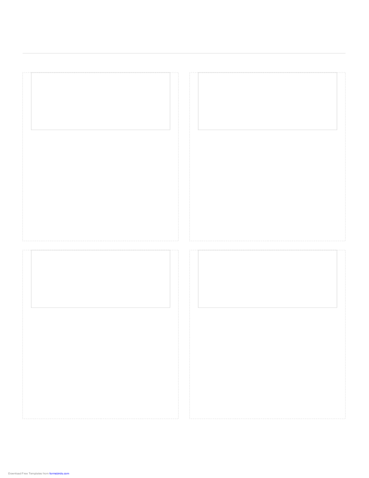 Storyboard with 2x2 Grid of 16:9 (Wide Screen) Screens on A4 Paper
