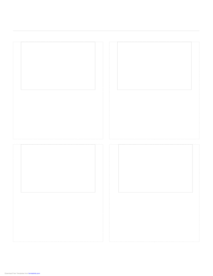 Storyboard with 2x2 Grid of 4:3 (Full Screen) Screens on A4 Paper