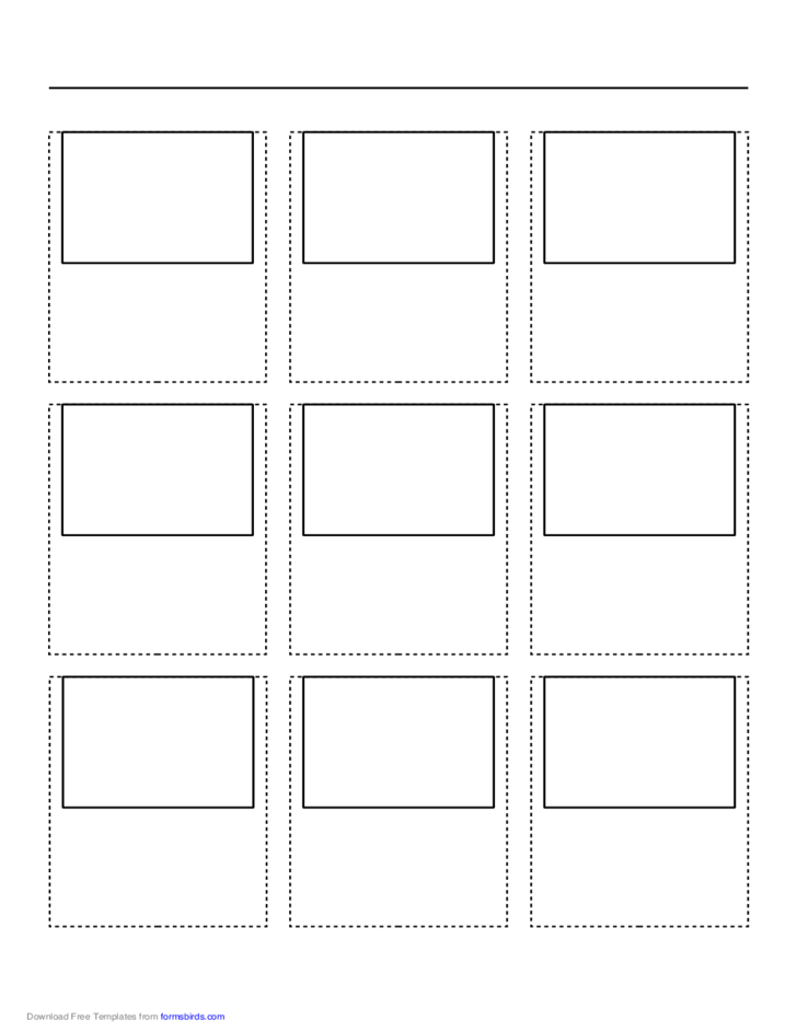 Storyboard with 3x3 Grid of 4:3 (Full Screen) Screens on A4 Paper