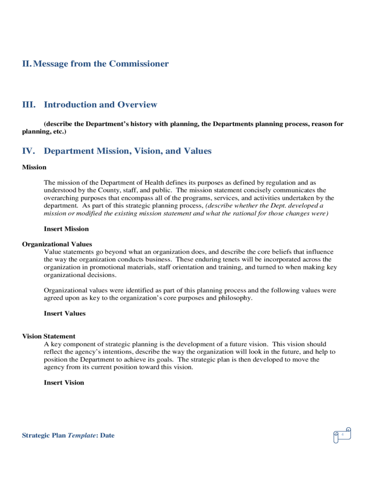 sample strategic planning template free download