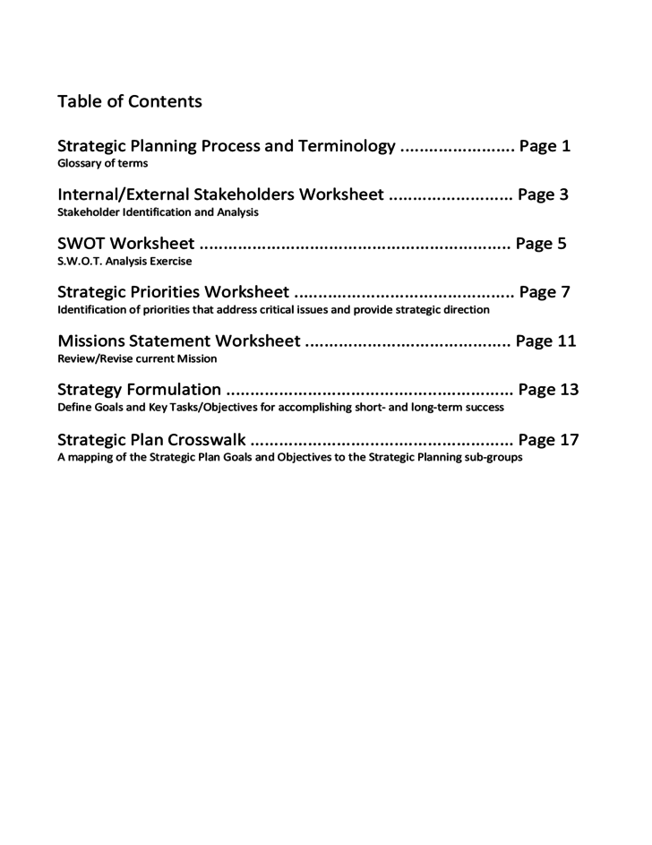 Strategic Planning Workbook Free Download