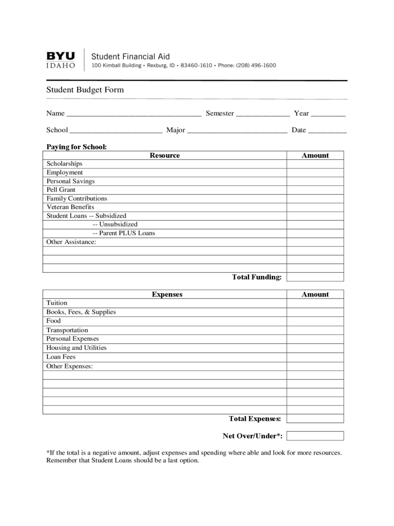 Student Budget Form - Brigham Young University