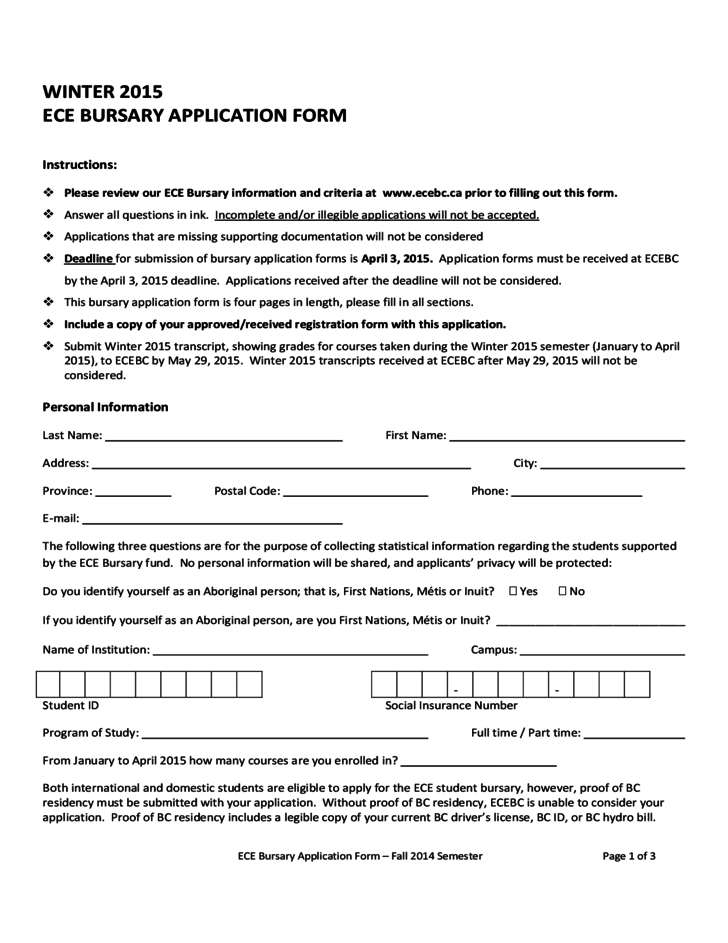 student bursary application sample form free download