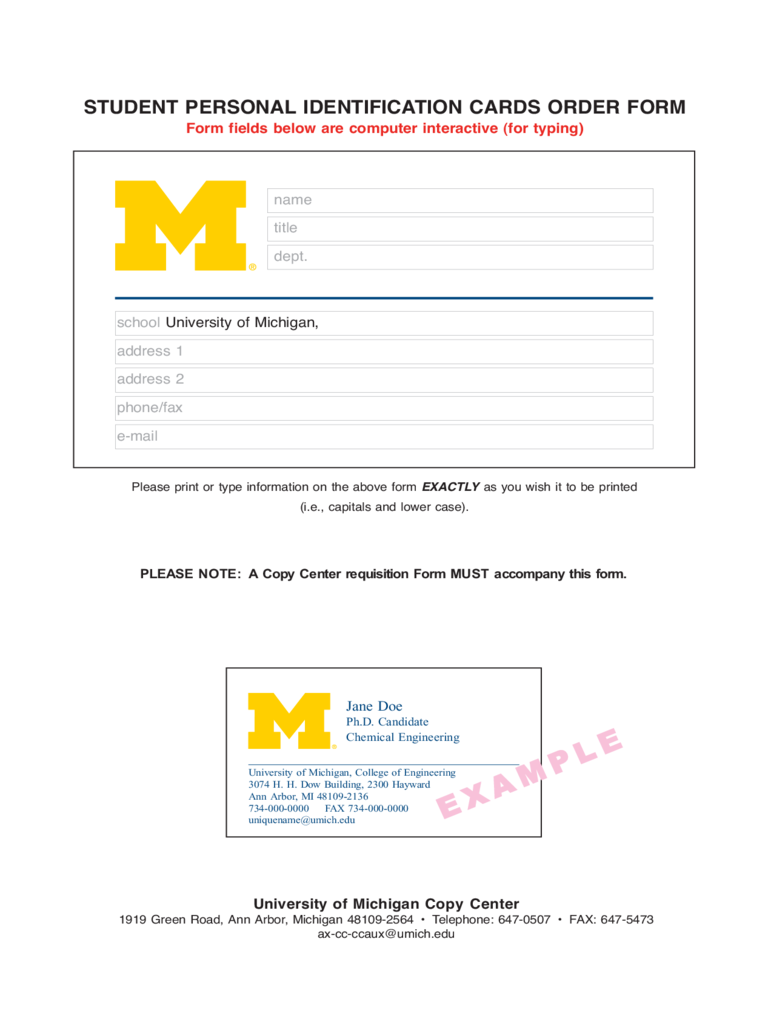 Student Personal Identification Cards Order Form - Michigan