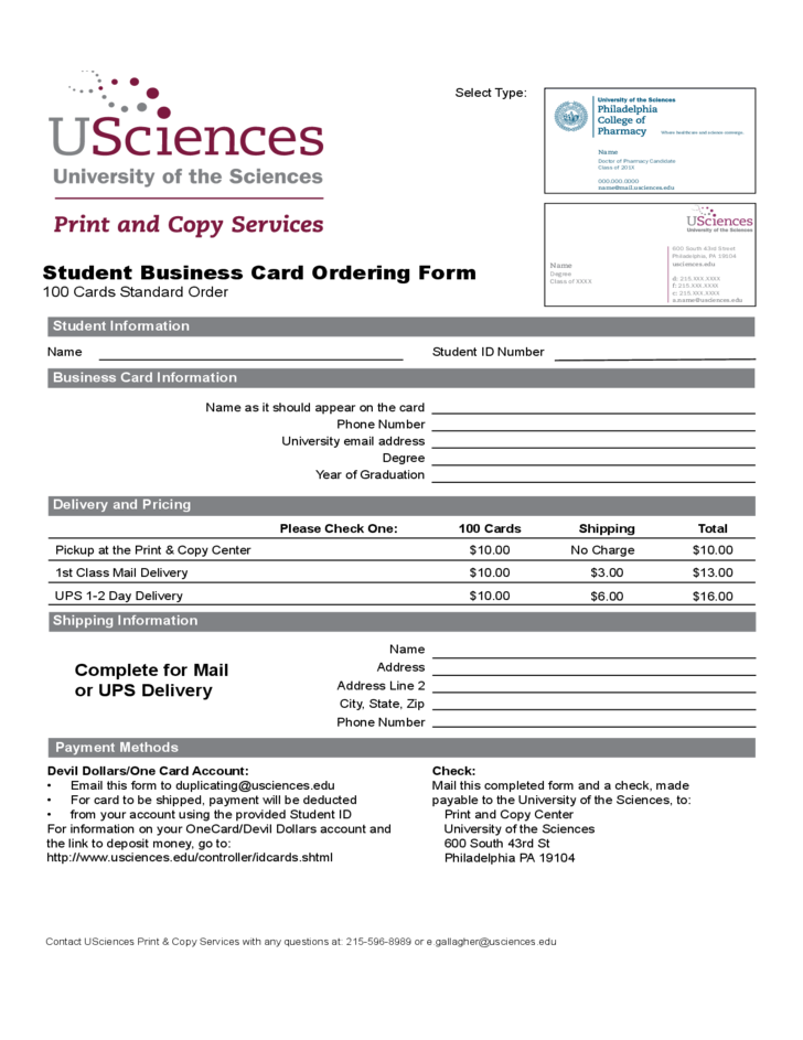 Student business card ordering form philadelphia free for Business card application