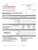 Student Business Card Ordering Form - Philadelphia Free Download