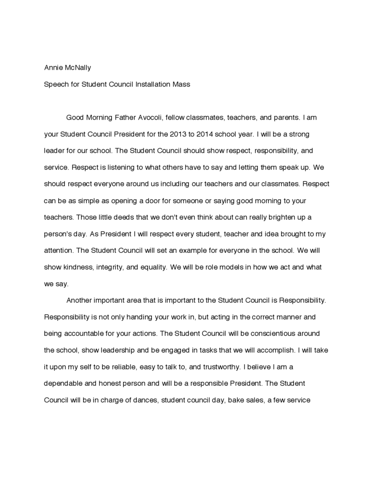 Student Council Speech Examples 1 Free Templates in PDF Word – Student Council Speech Examples