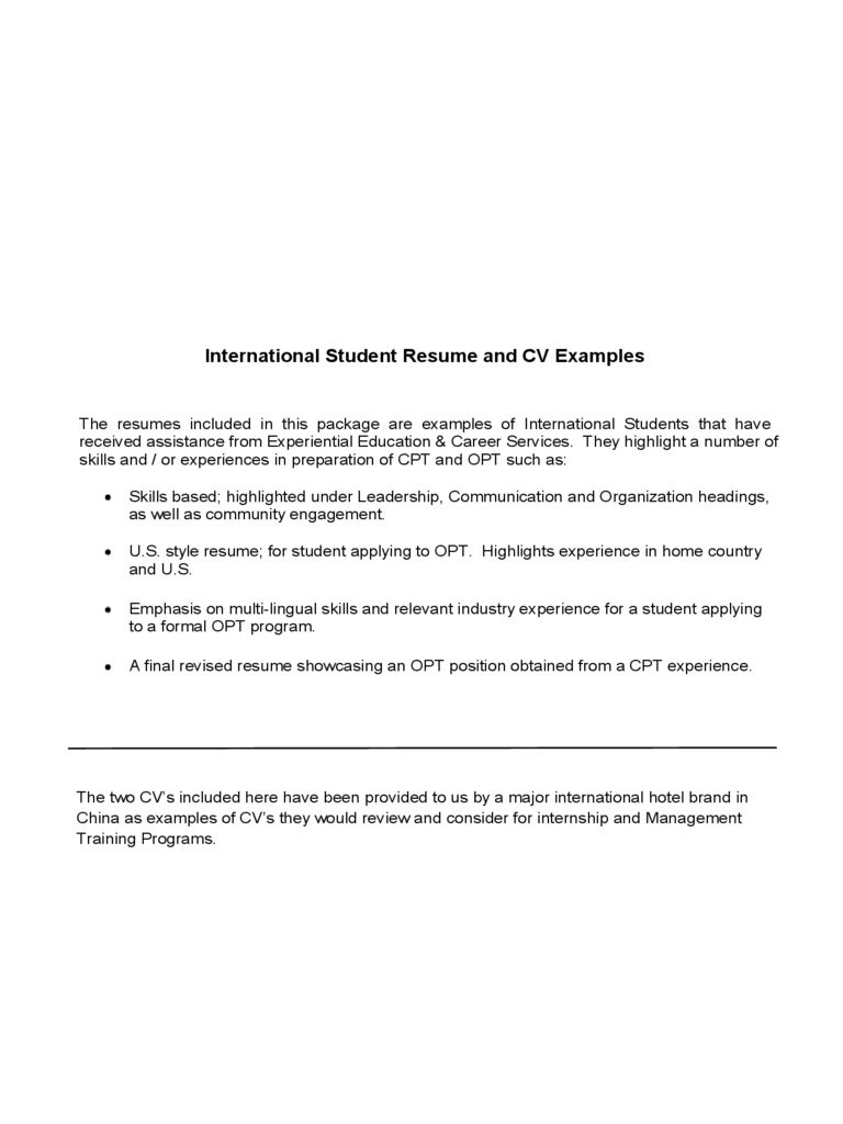 International Student Resume and CV Examples