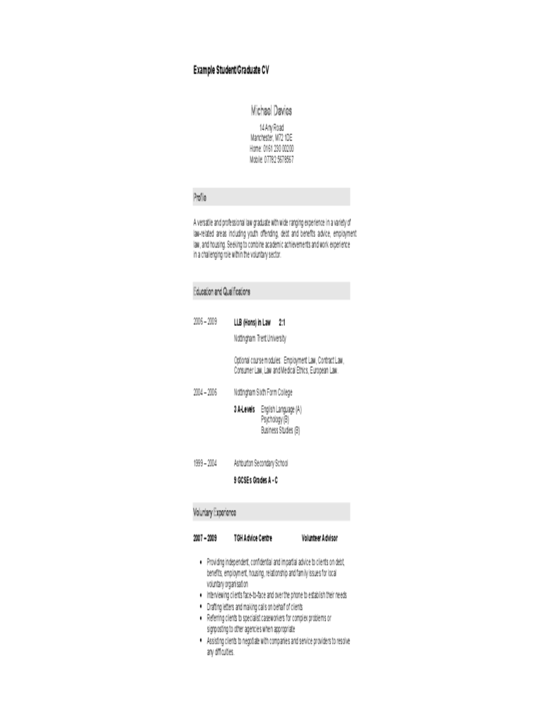 Student or Graduate CV Template