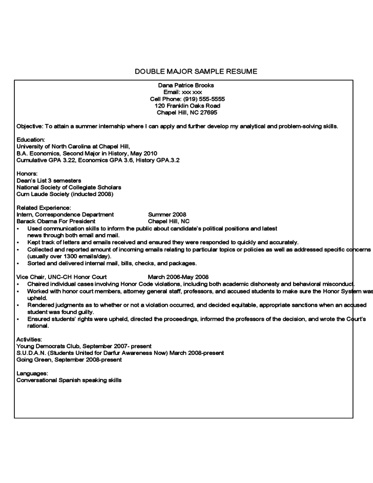 First Year Student Sample Resume Free Download