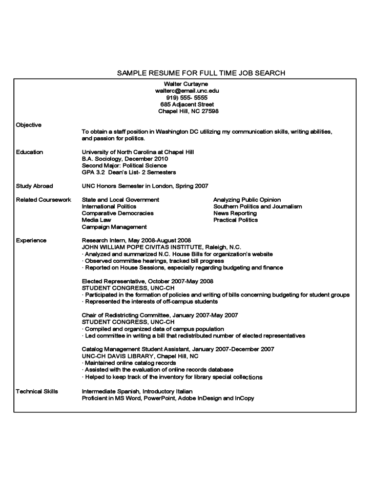First Year Student Sample Resume