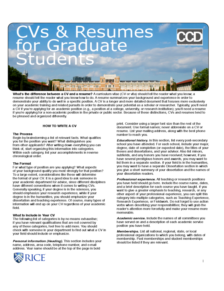 cv templates for graduate students free download