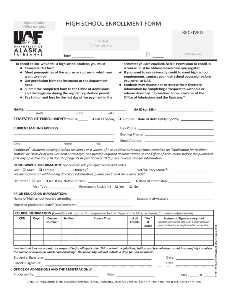 high school registration form template student enrollment form 3 free templates in pdf word