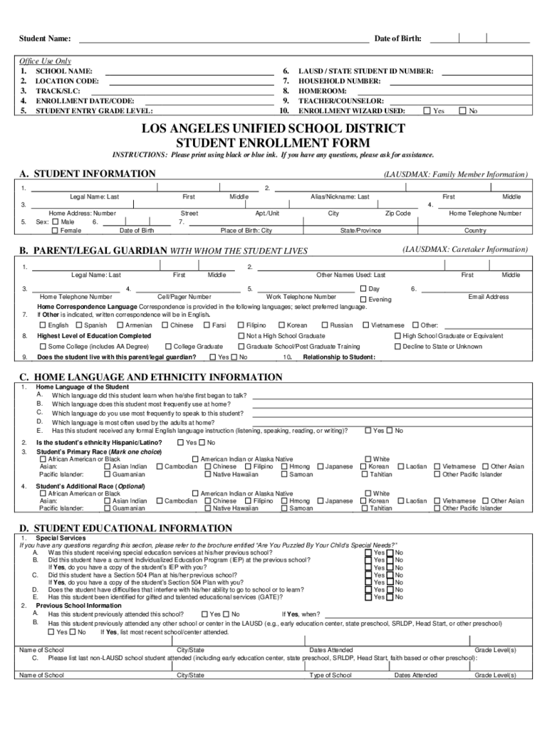 Student Enrollment Form 3 Free Templates in PDF Word Excel