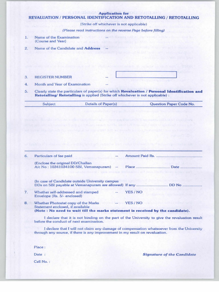 Application for Revaluation / Personal Indentification and Retotalling / Retotalling