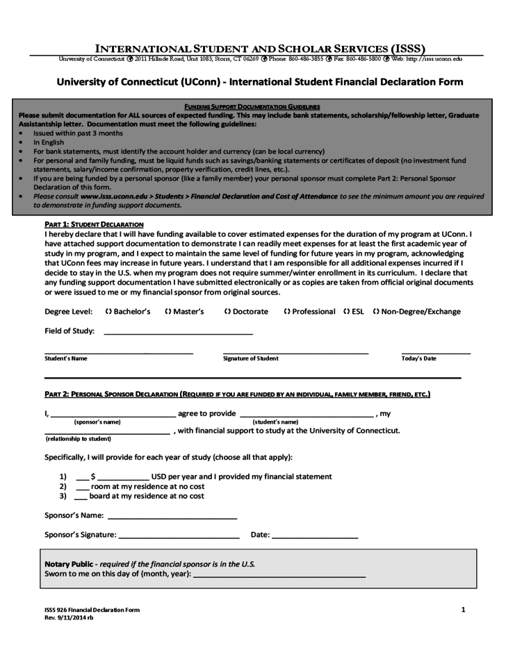 Student Finance Declaration Form University of Connecticut Free – Financial Declaration Form