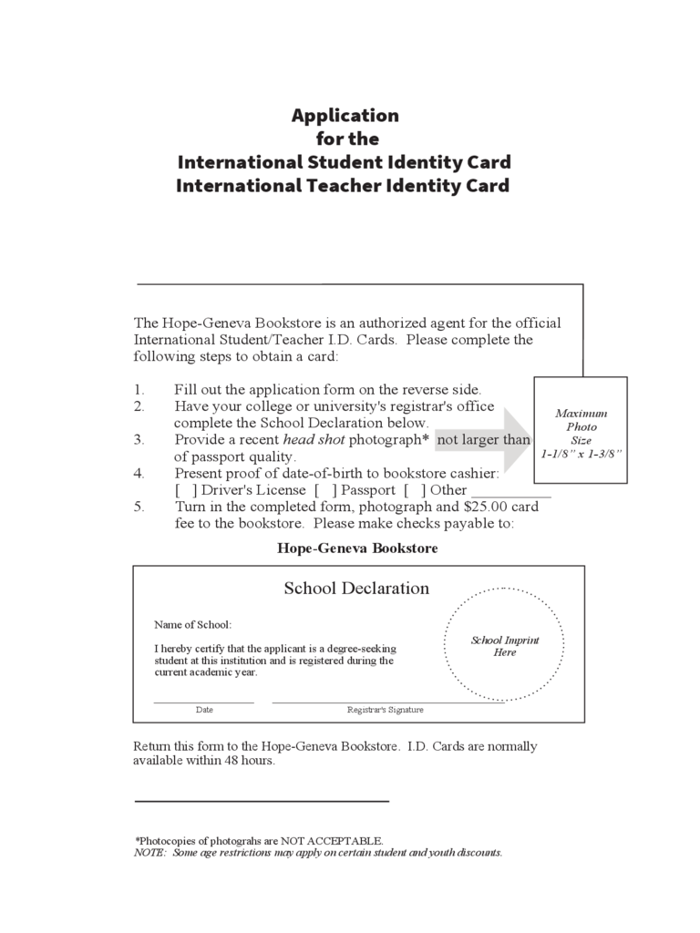 Application for the International Student Identity Card