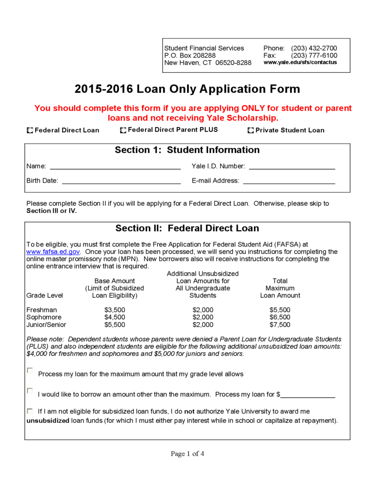 Student Loan Application Form - Yale University Free Download