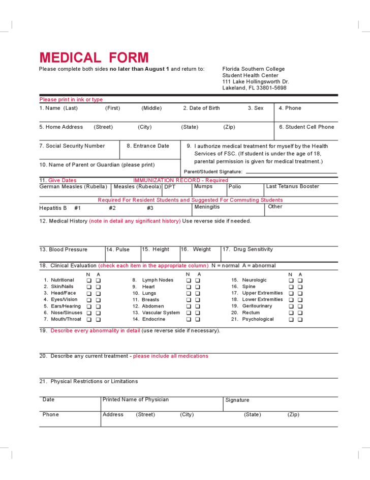 Student Medical Form Florida Free Download