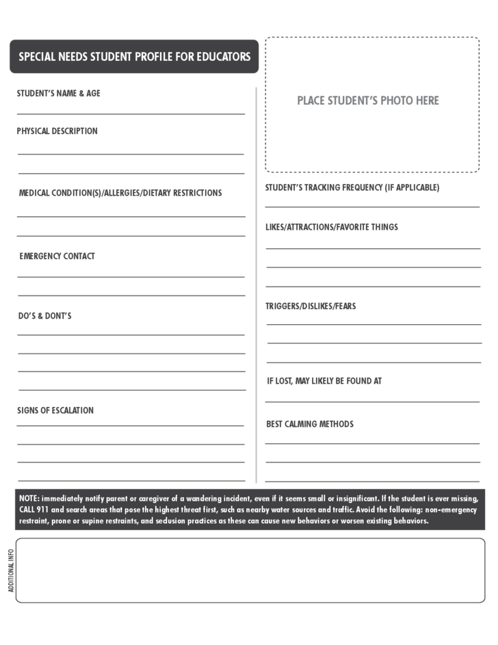 student profile template free download